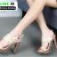 รองเท้าส้นสูงเสริมหน้า ส้น pu ลายไม้ 318311-CRE [สีครีม] thumbnail 3