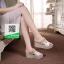 รองเท้าส้นเตารีดแบบสวมสีขาว เปิดส้น ทรงslope (สีขาว ) thumbnail 1