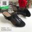 รองเท้าส้นตันเปิดส้นสีดำ สไตล์ Hermes (สีดำ ) thumbnail 2