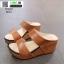 รองเท้าส้นเตารีดแบบสวม2ตอน 8052-น้ำตาล [สีน้ำตาล ] thumbnail 2