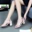 รองเท้าส้นเหลี่ยม หน้าสานซิปหลัง 689-1-CRE [สีครีม] thumbnail 3