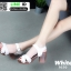 รองเท้าลำลองรัดส้น หนังนิ่ม ส้นไม้ 1630-WHI [สีขาว] thumbnail 3