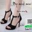 รองเท้าส้นสูงรัดข้อสีดำ สไตล์เกาหลี (สีดำ )