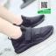 รองเท้าผ้าใบหุ้มข้อสีดำ แบบผูกเชือกแฟชั่น (สีดำ ) thumbnail 2