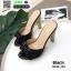 รองเท้าส้นสูงเปิดส้น ลายไม้ แต่งโบว์โบวฺ์ 3006-73A-BLK [สีดำ] thumbnail 4