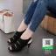 รองเท้าส้นสูง รัดข้อ ฉลุลาย 10177-ดำ [สีดำ] thumbnail 2