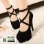 รองเท้าส้นสูงรัดข้อนำเข้า BPS-004-BLK [สีดำ]