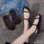 รองเท้าแตะสายไขว้ พื้นหนา 1372-BLK [สีดำ] thumbnail 5