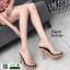 รองเท้าส้นสูงเปิดส้น ส้นไม้ หน้าใส 3006-92A-BLK [สีดำ] thumbnail 1