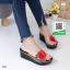 รองเท้าส้นเตารีดสีดำ แต่งดอกกุหลาบสีแดง (สีดำ ) thumbnail 3