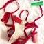 รองเท้าส้นสูงพันข้อสีแดง หนังกลับ (สีแดง ) thumbnail 4