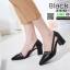 รองเท้าคัชชูงานหนังเนื้อนิ่มดีไซน์ทรงหัวแหลม B76-53-BLK [สีดำ]