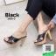 รองเท้าส้นสูงเปิดส้นสีกากี แบบสวม สายคาดไขว้ (สีกากี )