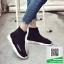 รองเท้าผ้าใบผ้ายืดสีดำ Elastic พื้นโฟมเกาหลี (สีดำ ) thumbnail 3