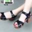 รองเท้าลำลองรัดส้น หนังนิ่ม ส้นไม้ 1630-BLK [สีดำ] thumbnail 3