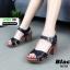 รองเท้าลำลองรัดส้น หนังนิ่ม ส้นไม้ 1630-BLK [สีดำ]