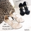 รองเท้าส้นสูงคาด 2 สาย A461-ดำ [สีดำ] thumbnail 4