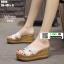 รองเท้าแตะสวมส้นเตารีด วัสดุหนังนิ่ม 9999-WHI [สีขาว] thumbnail 1