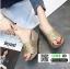 รองเท้าส้นเตารีด หน้าสวมหนังนิ่มแต่งกากเพชร 1902-GLD [สีทอง]