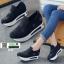 รองเท้าผ้าใบเสริมส้นนำเข้า สไตล์เกาหลี B38-BLACK [สีดำ] thumbnail 1