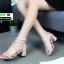 รองเท้าส้นเหลี่ยม หน้าสานซิปหลัง 689-1-CRE [สีครีม] thumbnail 2