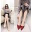 รองเท้าส้นเตี้ยรัดส้น ส้นตอก ยางยืดหลัง 1218-RED [สีแดง] thumbnail 2