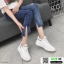 รองเท้าผ้าใบแฟชั่นงานผ้าระบายอากาศ 1718-WHI [สีขาว] thumbnail 1