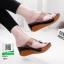 รองเท้าส้นเตารีดหูคีบหน้าใส แต่งมุกด้านหน้าสวยดูแพง 1891-ดำ [สีดำ]