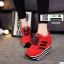 รองเท้าผ้าใบเสริมส้นสไตล์เกาหลี IH SB1084-RED [สีแดง] thumbnail 3