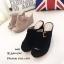 รองเท้าส้นเตารีด กำมะหยี่ หน้าเข็มขัด LK605-ดำ [สีดำ] thumbnail 4