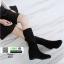 รองเท้าบู้ท แบบสั้น งานสวยใส่ดี พื้นเตารีดสามแบบสาวเกาหลี 6601-ดำ [สีดำ] thumbnail 3