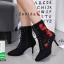 รองเท้าบูทส้นเข็มสีดำ แบบผูกเชือก สไตล์เกาหลี (สีดำ ) thumbnail 3