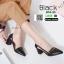 รองเท้าคัชชูงานหนังเนื้อนิ่มดีไซน์ทรงหัวแหลม B76-53-BLK [สีดำ] thumbnail 2
