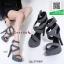 รองเท้าส้นเข็มรัดข้อสีเทา สไตล์เกาหลี งานผ้า (สีเทา ) thumbnail 3