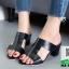 รองเท้าส้นตันสีดำ เปิดส้น สไตล์HERMES (สีดำ )