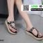 รองเท้าสไตล์หนีบชิวจ้าวัสดุเป็นงานหนังพียู 18-4532-BLK [สีดำ] thumbnail 2