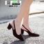 รองเท้าเปิดส้น Zara style หัวแหลม OX-11-BLK [สีดำ]