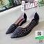 รองเท้าคัชชูเปิดข้าง เสริมส้น 1 นิ้ว 628-1-ดำ [สีดำ] thumbnail 3