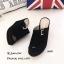 รองเท้าส้นเตารีด กำมะหยี่ หน้าเข็มขัด LK605-ดำ [สีดำ] thumbnail 3