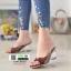 รองเท้าส้นสูง ส้นแก้ว 1848-ตาล [สีตาล]
