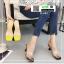 รองเท้าส้นสูงเปิดส้น หน้าใสลายจุด Q-483-BLK [สีดำ] thumbnail 1