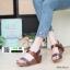 รองเท้าส้นเตารีดรัดส้น สายคาดแถบเมจิกเทป M1867-BWN [สีน้ำตาล] thumbnail 1