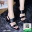 รองเท้าส้นตันรัดส้นสีดำ Ankle Strap Block Heel Sandal (สีดำ )