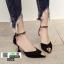 รองเท้าส้นสูง หัวแหลมแต่งอะไหล่ รัดข้อ 0926-BLACK [สีดำ] thumbnail 2
