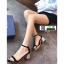 รองเท้าส้นสูงรัดส้น วัสดุผ้าสักหลาด ST-12-BLK [สีดำ] thumbnail 1