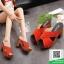 รองเท้าส้นตันสีส้ม ทรงแม็กซี่ สายคาดไขว้ (สีส้ม ) thumbnail 1