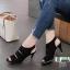 รองเท้าส้นสูง รัดข้อ ฉลุลาย 10177-ดำ [สีดำ] thumbnail 1
