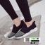 รองเท้าผ้าใบแบบสวมไรเชือก แต่งสีทูโทน B-3-BLK [สีดำ] thumbnail 4