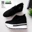รองเท้าผ้าใบเสริมส้น หนัง pu ญี่ปุ่นกันฝุ่น A06-ดำ [สีดำ] thumbnail 4
