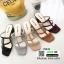 รองเท้าส้นสูงวัสดุหนังนิ่ม ดีไซน์งานเส้น ส้นเหลี่ยม 998-02-ครีม [สีครีม] thumbnail 2